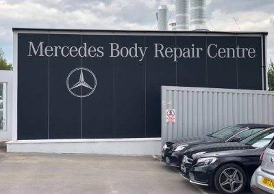 External Signage Vinyl Lettering Application Mercedes Body Repair Newcastle North East Enhance Branding Wrapping Detailing ltd