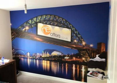 Digitally printed wall wraps installed by Enhance Ne Ltd Branding Wrapping Detailing