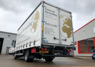 Universal forwarding international freight specialists vehicle liver commercial branding graphic design and installation